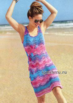 Летнее платье-сарафан с красивыми цветовыми переходами. Вязание спицами