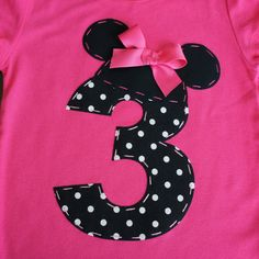 Maybe with a 1? :) 18-24m ONLY Minnie Mouse Ears and Number Birthday shirt- LIMITED Pink. $24.95, via Etsy.