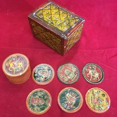 Antique? Indian Jaipur Hand Painted Boxed Dashavatar Ganjifa 68 Cards  Part Game