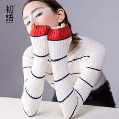Aliexpress.com : Buy Toyouth Women Pullover 2017 Autumn O neck Long Sleeve Contrast Color Stripe Pattern Knitted Crochet Sweater from Reliable crochet men sweater suppliers on Toyouth