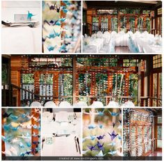 Senbazuru - We folded 1000 paper cranes for our wedding to bring us luck in our marriage. We folded them in sky blue, dark blue, and white and strung them from fishing line with a small bead between each crane holding it in place and a large bead at the bottom of each line as a weight. We tied them from two pieces of dowel and hung them as our backdrop for our reception. Photography by Jodi McDonald Photography, venue is EcoStudio Fellini, Mudgeeraba. 1000 Paper Cranes, Reception Ideas, Our Wedding, Origami, Dark Blue, Backdrops, Fishing, Photo Wall, Marriage