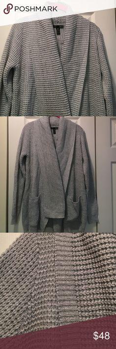 Beautiful, cozy Aqua cable cardigan/sweater, Small Open front cardigan, beautiful grey/blue color. Cozy cableknit Aqua Sweaters Cardigans