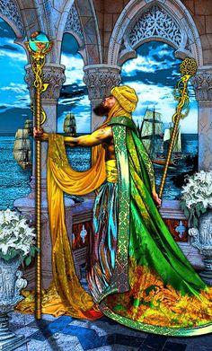 Six of Wands card in my deck Tarot Illuminati Fantasy City Scape [link] Six of Wands Illuminati, Tarrot Cards, Steampunk, Tarot Card Meanings, Tarot Card Decks, Oracle Cards, Magick, Witchcraft, Wands