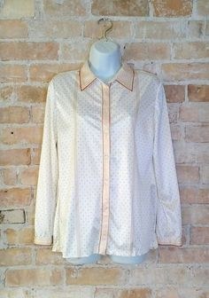 Vintage White and Tan Dot Blouse Retro Blouse Special by NoVeto
