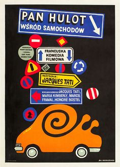 Polish poster for TRAFIC (Jacques Tati, France, 1971)  Artist: Jan Mlodozeniec (1929-2000)