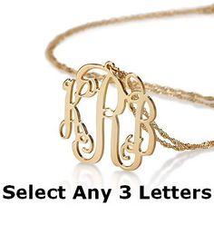 Customized Monogram Necklace Personalized by HandmadeChicJewelry