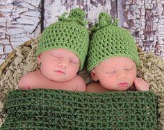 Twin Pea Pod Newborn Photo Prop Crochet pea pod for twins. $45.00, via Etsy.
