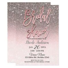 Rose Gold Blush Pink Glitter Sparkle Bridal Shower Card - invitations custom unique diy personalize occasions
