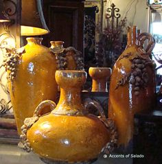 Tuscan Style Rustic Terra cotta Pottery, Ceramic Urns, Ceramic Food Canisters Italian Tuscan and French Country Kitchen