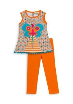 Rare Editions Orange 2-Piece Butterfly Pleated Top And Capri Set Girls 4-6x