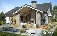 Projekt: Judyta on Behance A Frame House Plans, Rustic House Plans, Best House Plans, House Floor Plans, Modern Lake House, Modern Bungalow House, Modern Bungalow Exterior, Small Pool Design, Small House Design