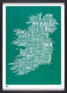 Ireland Type Map by Bold & Noble ( @boldandnoble ) #Typography