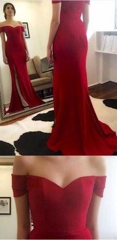 2016 long red prom dress off-the-shoulder with side slit