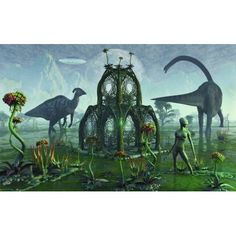 A reptoid alien colonist at work on a prehistoric Earth with dinosaurs Canvas Art - Mark StevensonStocktrek Images (36 x 23)