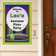 Green Ninjas Personalized Door Greeter. Personalize with your name and party info and coordinate with the your Teenage Mutant Ninja Turtles supplies.