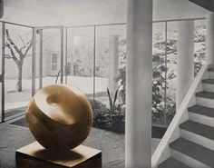 BARBARA HEPWORTH, Photo-collage with Helicoids in Sphere-sculpture in the entrance hall of an apartment building by Alfred & Emil Roth and Marcel Breuer, Doldertal, Zurich, 1939. Gelatin silver print on paper. © The Hepworth Photograph Collection. / Art Blart Via Scandinaviancollectors tumblr.
