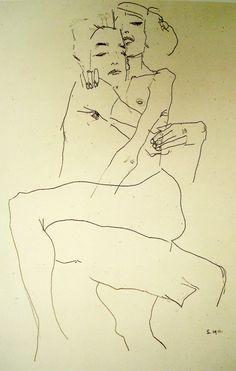 Egon Schiele - Embracing Couple, 1911 Figure Sketching, Figure Drawing, Painting & Drawing, Drawing Sketches, Art Drawings, The Embrace, Vintage Artwork, Art Sketchbook, Erotic Art