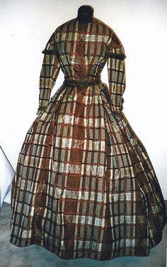 1860s Rust and Cream Plaid Silk Taffeta Dress