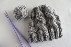 free hat knitting pattern with 2 straight needeles - make biggersize and add at least 6 rows to length