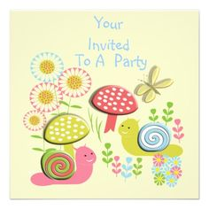Cute  Kid's Whimsical Nature Scene Party Invites