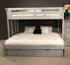 The Stonebrook Youth Bedroom Collection by American Woodcrafters was designed with kids and parents in mind. The collection features durable hardwood solids and veneers covered in a light distressed antique gray finish. The Stonebrook Youth Bedroom Collec Bunk Beds Small Room, Bunk Beds For Girls Room, Bunk Bed Rooms, Full Bunk Beds, Bunk Beds With Stairs, Kid Beds, Full Bed, Boy Bunk Beds, Bunk Bed Ideas For Small Rooms