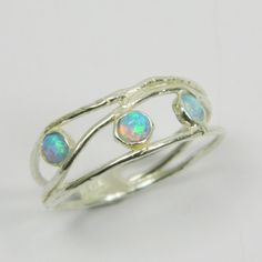 Christmas Sale  Opal ring. Opals sterling silver by AtlanticSun, $19.00