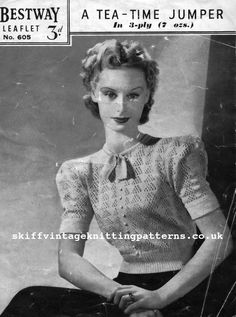 The Vintage Pattern Files: 1930s Knitting - Tea Time Jumper