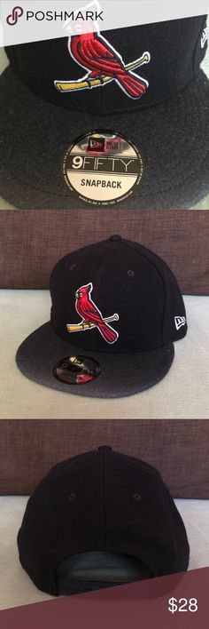 St. Louis Cardinals MLB New Era SnapBack Hat For sale is a St. Louis Cardinals MLB New Era SnapBack Hat. Navy blue with a hint of white on end of the brim. Stitched Cardinals logo on the front and white stitched New Era logo on the left side. Adjustable SnapBack strap on back. Item is New With Tags.  Bundle items and make an offer! New Era Accessories Hats