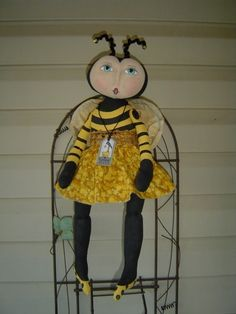 Primitive Folkart Doll Pattern Bumble Bee MHA by Raggedyrhondas, $14.00