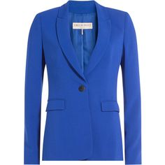 Emilio Pucci Crepe Blazer (94,545 INR) ❤ liked on Polyvore featuring outerwear, jackets, blazers, blue, blue blazer jacket, blue blazer, blazer jacket, royal blue shrug and royal blue blazer