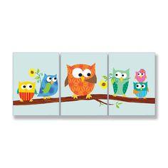 The Kids Room 3 Piece Owls On Branch Rectangle Part 2 Wall Plaque Set | Wayfair