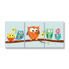 The Kids Room 3 Piece Owls On Branch Rectangle Part 2 Wall Plaque Set | Wayfair