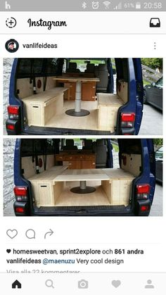 Clever storage/table solution.