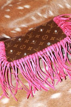 Authentic Louis Vuitton Pochette with Bling & Pink Fringe