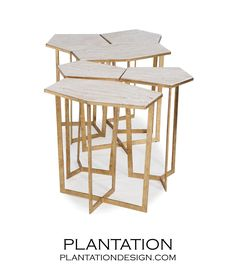 PLANTATION | Cipher Coffee Table Set | Gold & Limestone