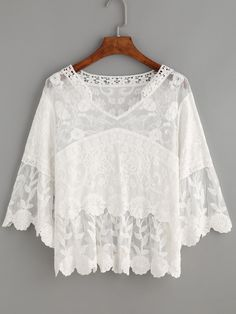 White Crochet Collar Embroidered Mesh Top -SheIn(Sheinside)