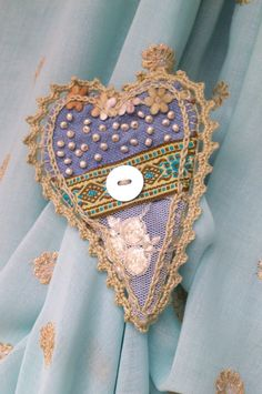 Blue Heart OOAK very romantic fabric brooch by hypericumfragile, $15.00