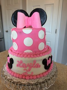 Minnie Mouse 2 tiered 2nd birthday cake