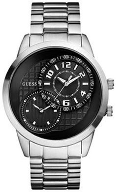 Guess Mens U13616G1 Silver StainlessSteel Quartz Watch with Black Dial -- Continue to the product at the image link.