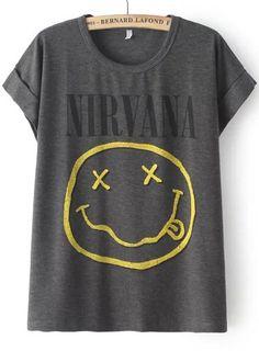 T-Shirt Kurzarm mit NIRVANA Gesicht Print-grau 8.27