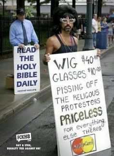 Funny Political Protest Signs: Pissing Off Religious Protesters Funny Cute, The Funny, Protest Signs, Political Signs, Lol, Faith In Humanity, Funny Signs, Laugh Out Loud, In This World