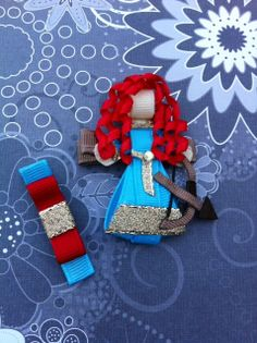 Brave Princess Merida Ribbon Sculpture hair clip with matching clippie