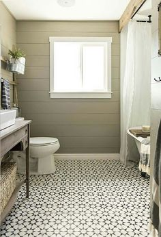 Looking for a small bathroom remodel ideas? Don't worry, we show some of our favorite small bathroom remodel ideas that really work. Get ready to have a small bathroom that looks twice bigger than its original size with Woodoes team! Bathroom Floor Tiles, Bathroom Renos, Master Bathroom, Bathroom Ideas, Bathroom Designs, Bathroom Wall, Bathroom Black, Shiplap In Bathroom, Moroccan Tile Bathroom