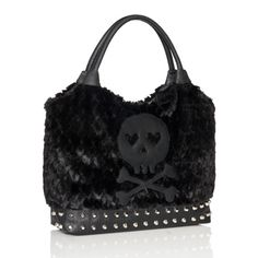 """JustFab - """"Midnight Bag"""" - love this! The skull with hearts, the studs, and the fur looks so cuddly. haha"""