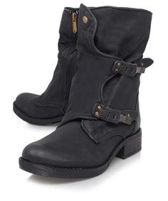 Sam Edelman Black Ridge Dual-Buckle Leather Biker Boots | Women's Shoes | Liberty.co.uk