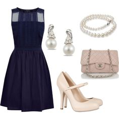 love this outfit; navy ruffle dress, light pink chanel, beige/nude maryjanes, and pearls