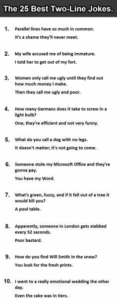 25 Best Two-Line Jokes