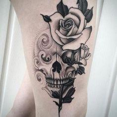 Girly Skull Tattoos, Skull Tattoo Flowers, Sugar Skull Tattoos, Black Ink Tattoos, Leg Tattoos, Flower Tattoos, Body Art Tattoos, Skull Thigh Tattoos, Butterfly Tattoos