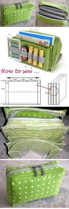 Multi-functional Bag / Bankbook Pouch. Sewing Pattern and Tutorial www.handmadiya.co...