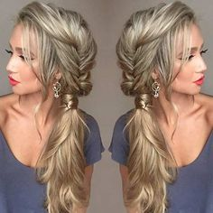 Messy Fishtail Braid into a Side Ponytail #hairstyles #longhairtips